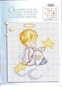 Cross Stitch Angels, Cross Stitch Baby, Cross Stitch Alphabet, Cross Stitch Patterns, Christmas Afghan, Christmas Cross, Graph Paper Art, Diy And Crafts, Decoupage