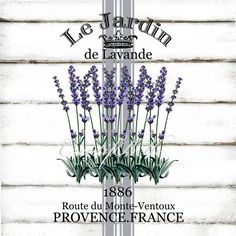 Le Jardin Lavender A4 Grain Sack Style Instant Digital Download Printable Graphic Transfer Vintage Arts Craft Supplies Herbs Image