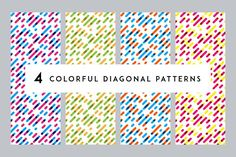 4 Colorful Diagonal Patterns by Vector illustrations on @creativemarket