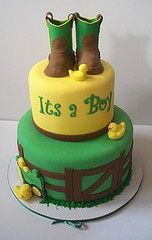 @Gretchen Schaefer Gintz.. if you have a boy. Perfect shower cake..Country baby boy cake ;)