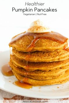 This fall, wake up to a stack of these healthier pumpkin pancakes made with whole grains, aromatic spices, honey, and pure pumpkin puree. Get the vegetarian and nut-free recipe Vegetarian Pancakes, Healthy Vegetarian Breakfast, Healthy Pumpkin Pancakes, Pumpkin Breakfast, Breakfast Meals, Health Breakfast, Real Food Recipes, Gourmet Recipes, Healthy Recipes
