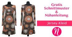 Kostenloses Schnittmuster für ein Jersey-Kleid mit Volants zum selber nähen. PDF-Schnittmuster Gr. 36-52 ✂ Schnittmuster für große Größen ✂