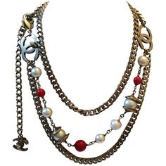 Preowned Vintage Chanel Silver Tone Belt / Necklace ($2,350) ❤ liked on Polyvore featuring jewelry, necklaces, multiple, long red necklace, chanel, long necklace, pre owned jewelry and red string necklace