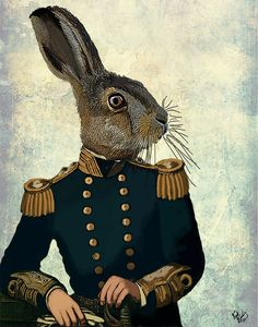 Lieutenant Hare 14x11 Art Print Illustration Poster Acrylic Painting Giclee Animal Painting Wall Decor Wall hanging Wall Art Rabbit Print
