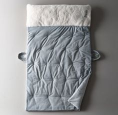 RH Baby & Child's Luxe Sherpa Nap Mat - Grey:A soft and cushy mat for naps away from home. Sewn of soft cotton jersey, it's outfitted with a built-in snuggly sherpa fleece pillow and two carrying handles for toting around.