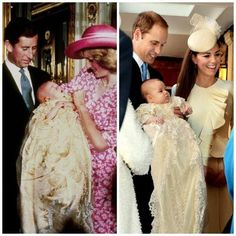 Then and Now...1982 Christening, on left: Prince William, in the arms of his mother, Diana, with his father Charles.  2013 Christening, on right:  Prince William holding his son Prince George. Baby George's mother Catherine stands next to him.