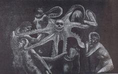 1898, Valère Bernard, La pieuvre, Eau-forte, vernis mou et gravure au soufre, Musée des Beaux-Arts, Marseille