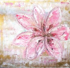 Painting, art, flower, pink, gold