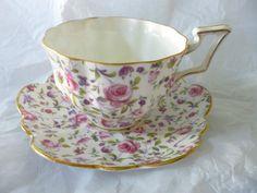 Salisbury England Fine Bone China Pink Rose Chintz Tea Cup Saucer