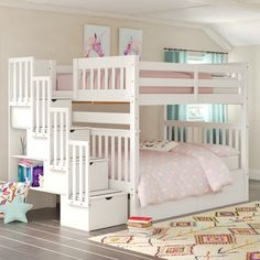 Harriet Bee Tena Full Over Full Stairway Bunk Bed with Drawers Bed Frame Color: White Bunk Beds For Girls Room, Bunk Bed Rooms, Loft Bunk Beds, Bunk Bed With Trundle, Full Bunk Beds, Kid Beds, Kids Bedroom, Full Bed, Cute Beds For Girls