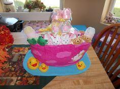 Noah's Ark Diaper Cake for Baby Girl