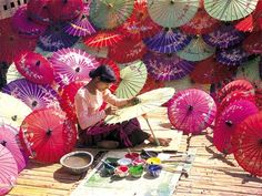 The umbrella industry of Pathein or previously known as Bassein, the capital of the Ayeyarwaddy Division of Myanmar's delta region, is well known worldwide. This cottage industry was established in Pathein over a hundred years ago.