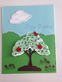 Card for Aug 22 class using Tree Builder Punch and Sprinkles of Life stamp dry