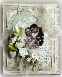 Vintage Card by LLC DT Member Heidi Augustson. Papers from Pion Design (Flower Frames & A Day in May).