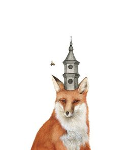 The Fox And Tower 8x10 Art Print Forest Illustration By Polanshek
