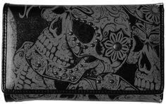 Women's Iron Fist Sweet Skull O Mine Tri-Fold Studded Vegan Wallet Charcoal Grey Iron Fist. $24.99