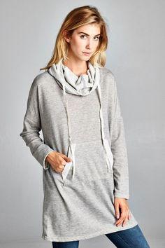 Cowl Neck Sweatshirt Dress