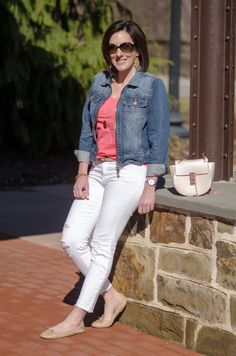 Spring Outfit Inspiration: LOFT Vintage Broken In Tee in Pink Zinnia + J Brand Low Rise Crop Jeans (Demented White Distressed) w/ Denim Jacket & Nude Felicia Flats | This outfit formula is one you can easily recreate at any price point: white cropped skinny jeans, pastel t-shirt, jean jacket, and nude flats. Click through for outfit details and product links!