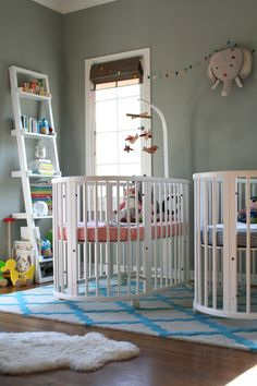Adorable nursery for twins. Twins must have separate sleep spaces. Also make sure all the animals and pillows come out before baby goes in #bumperless