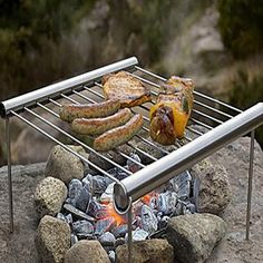 1 PC Outdoor Travel  Camping Protable BBQ Grill Stainless Steel Simple Tube BBQ Picnic BBQ Oven T20