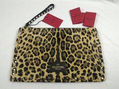 100% Authentic VALENTINO Rockstud Leopard-Print Calf Hair Zip Clutch Wrist Bag #Valentino #WristBagZippedClutch