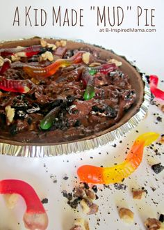 Mud Pie Recipe Ingredients:      chocolate graham cracker pie crust     instant chocolate pudding mix (we use sugar-free to counterbalance all of the other sugary ingredients)     cold, cold milk     chocolate sandwich cookies     chopped walnuts     gummy worms