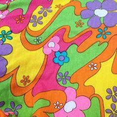 Mod 60s Floral Psychadelic Fabric Fucshia Pink, Purple, Orange,  Yellow