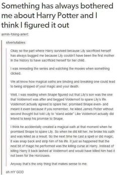 Harry Potter theory- one I've actually never come across before.