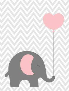 Kleiner rosa Ballonelefant - Her Crochet Kids Room Art, Art Wall Kids, Nursery Wall Art, Girl Nursery, Baby Shawer, Baby Art, Scrapbooking Image, Baby Elephant, Elephant Nursery
