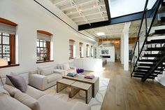 Spacious living area of the revamped NYC loft penthouse