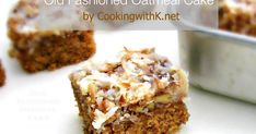 This Oatmeal Cake is a dense, yet moist cake with a broiled coconut and pecan topping that will remind you of baked oatmeal with icing on it.Yum!