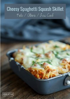 This easy keto cheesy spaghetti squash skillet will be a hit with the entire family!