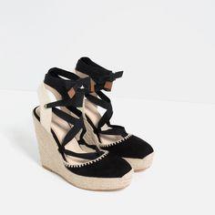 Pin for Later: Die 6 größten Sandalen-Trends in diesem Sommer Wedges Ein Absatz aus Kork, Holz oder Bast verleiht jedem Look eine sommerliche Leichtigkeit. Zara Espadrille-Schuh mit Keilabsatz (60 €)