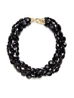 """Black Quartz Multi-Strand Necklace by KEP on Gilt.com 18.5"""""""