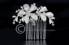 Wedding Hair Comb Off-White Flowers and Rhinestones