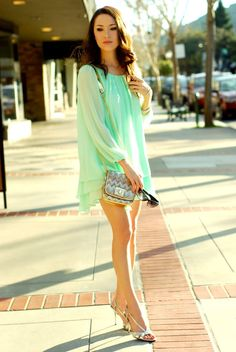 blue mint chiffon dress by Hapa Time