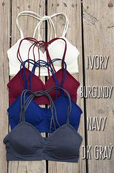 strappy back bralette, removable pads, strappy sports bra