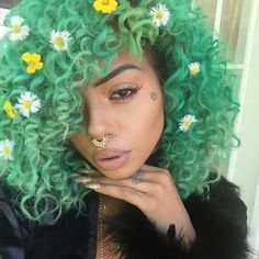 """I got flowers in my hair. I get high on hydroponic weed"" for more sexy hair🎀 Dyed Natural Hair, Dyed Hair, Natural Curls, Curly Hair Styles, Natural Hair Styles, Pelo Afro, Colored Curly Hair, Green Hair, Purple Hair"