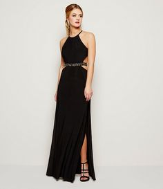 Morgan & Co. Halter-Neck Beaded Waist Gown