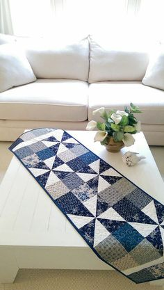 Summer Blue Table Runner Quilt Wall Hanging French Country Patriotic Picnic Civil War Cottage Farmhouse Americana