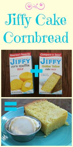 Jiffy Cake Cornbread Growing up, my best friends mom would make this delicious cake-like corn bread, which I call Jiffy Cake Cornbread. Kathy would mix a box of Jiffy Corn Muffin mix, with a box o. Easy to make with just 2 mixes! Slow Cooker Recipes, Crockpot Recipes, Cooking Recipes, Jiffy Recipes, Cornmeal Recipes, Cooking 101, Skillet Recipes, Muffin Recipes, Healthy Recipes