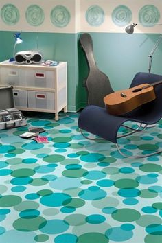 Loving this bubble pattern vinyl flooring - I can envision it in my guest bathroom