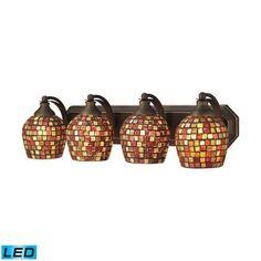 ELK Lighting Bath Spa 4 Light LED Vanity In Aged Bronze Multi Fusion Glass