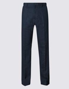 Big & Tall Linen Blend Flat Front Trousers Mens Big And Tall, Big & Tall, Tall Pants, Trousers, Sweatpants, Flat, Stylish, Tops, Fashion