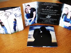 Black and blue gatefold wedding invitation..I LOVE THIS!