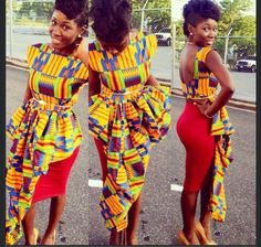 AFRICAN PRINT DRESS RED