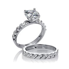 White Gold Over 925 Silver White CZ Engagement & Wedding Band Bridal Ring Set #adorablejewelry #SolitairewithAccents #EngagementWedding