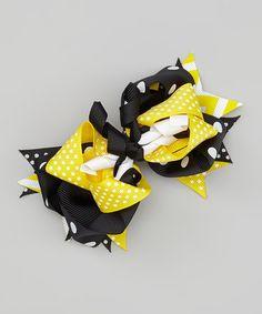 Lemonade Crush Yellow & Black Layered Bow Clip