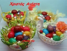 Orthodox Easter, Greek Easter, Happy Easter, Beautiful Creatures, Easter Eggs, Make Your Own, Serving Bowls, Goodies, Tableware
