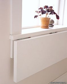 "Drop-Leaf Window Sill Table.  See the ""Kitchen Space Savers"" in our Spring-Cleaning the Kitchen gallery"